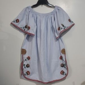 Zara TRI Collection Embroidered Blue Shirt Sz M